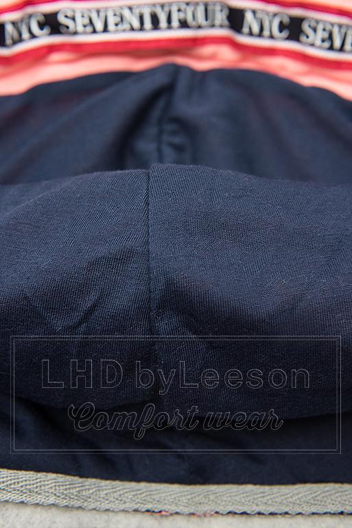 Długa bluza z kapturem szara/granatowa