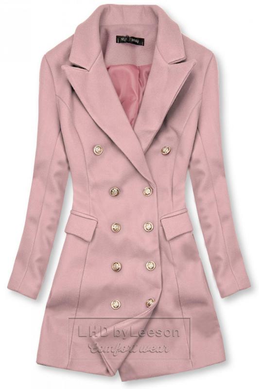 Elegancki płaszcz jesienny różówy