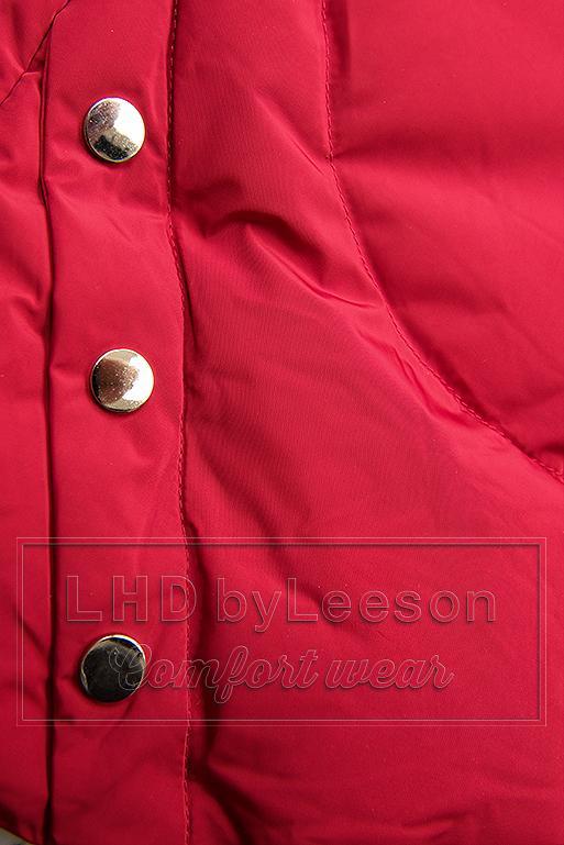 Czerwona kurtka zimowa ze srebrnym obszyciem