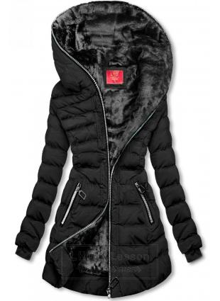 Zimowa pikowana kurtka z kapturem czarna