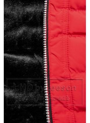 Zimowa pikowana kurtka z kapturem czerwona