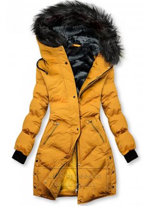 Żółta pikowana kurtka zimowa