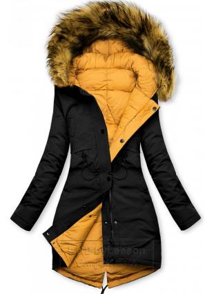 Czarno-żółta zimowa kurtka dwustronna