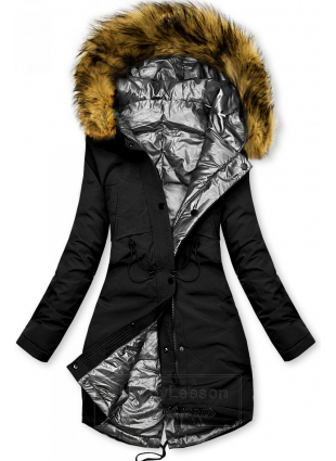 Czarno-srebrna zimowa kurtka dwustronna