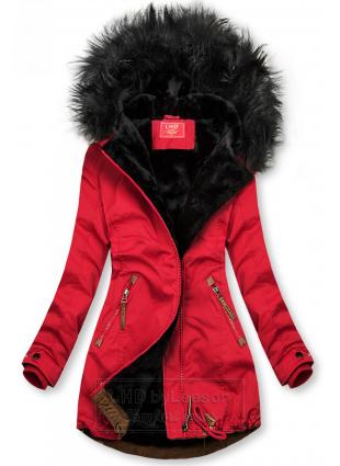Czerwono-czarna zimowa parka