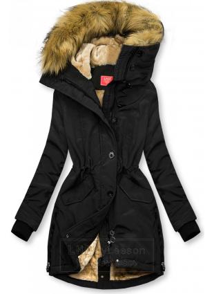 Czarna kurtka zimowa z wysokim kołnierzem