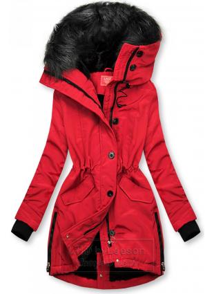 Czerwona kurtka zimowa z wysokim kołnierzem