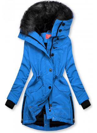 Koblaltowo-niebieska kurtka zimowa z wysokim kołnierzem