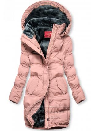 Różowa kurtka zimowa z pluszową podszewką