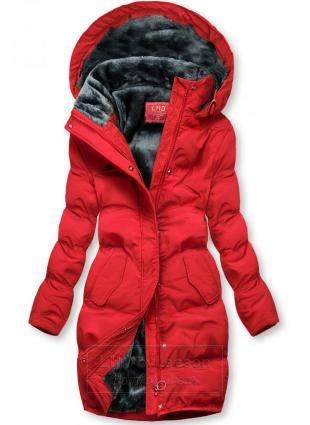 Czerwona kurtka zimowa z pluszową podszewką