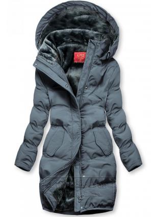 Szara kurtka zimowa z pluszową podszewką