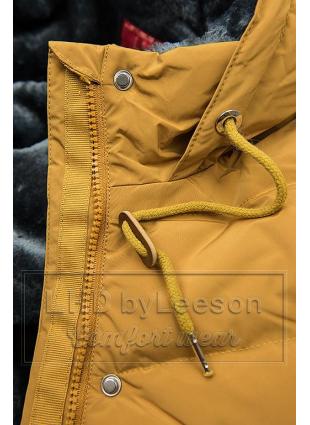 Żółta kurtka zimowa z pluszową podszewką