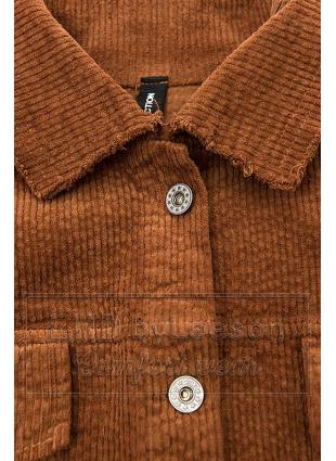 Brązowa sztruksowa koszula wierzchnia
