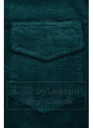 Szmaragdowo-zielona sztruksowa koszula wierzchnia
