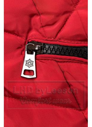 Czerwona pikowana kurtka długa