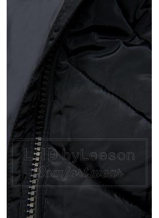Granatowa pikowana kurtka długa