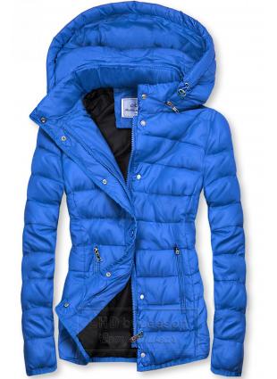 Kobaltowo-niebieska pikowana kurtka na sezon przejściowy