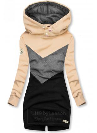 Bluza wkładana przez głowę beżowa/szara/czarna