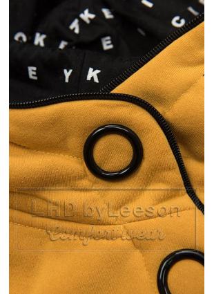 Żółty komplet dresowy z wzorzystym kapturem