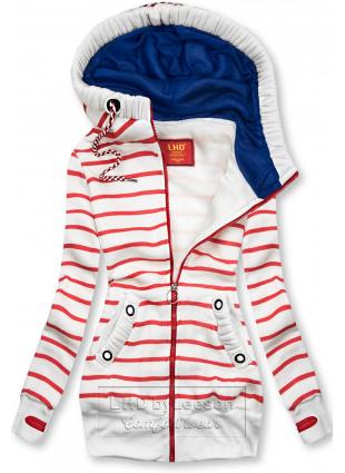 Prążkowana bluza biało/czerwona
