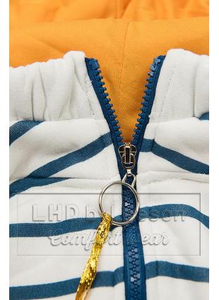 Prążkowana bluza biało/niebieska