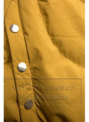 Żółta kurtka zimowa ze srebrnym obszyciem