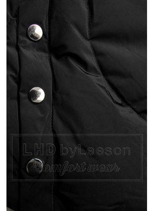 Czarna kurtka zimowa ze srebrnym obszyciem