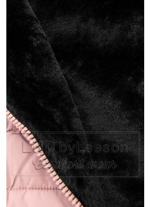 Różowa ocieplana czarnym pluszem kurtka z przeszyciami