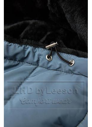 Szara ocieplana czarnym pluszem kurtka z przeszyciami