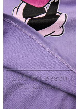 Fioletowa koszulka z nadrukiem w motywie myszki