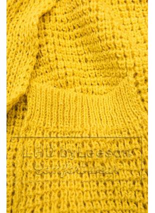 Żółty asymetryczny dzianinowy kardigan