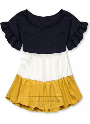 Falbaniasta bluzka granatowa/biała/żółta