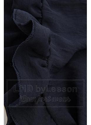 Falbaniasta bluzka granatowa/biała/czerwona