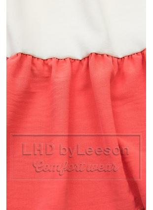 Falbaniasta bluzka granatowa/biała/koralowa