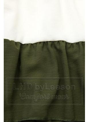 Falbaniasta bluzka granatowa/biała/khaki
