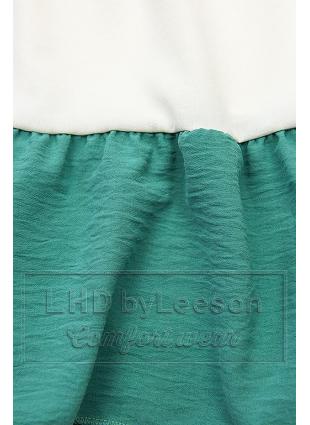 Falbaniasta bluzka granatowa/biała/turkusowa