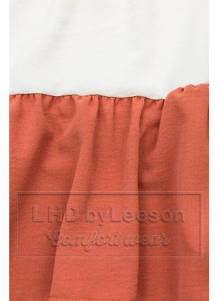Falbaniasta bluzka granatowa/biała/ceglasta