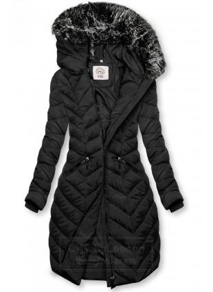 Czarna pikowana kurtka długa