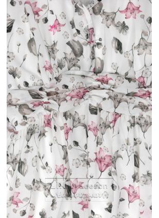Biała maxi suknia z kwiatami Rafaela