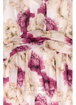Biała maxi suknia z kwiatami Pandora