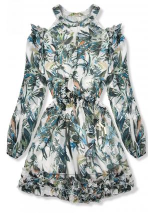 Zielono-niebieska sukienka w kwiaty Laura/O'la Voga