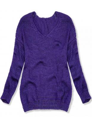 Fioletowy sweter z dzianiny