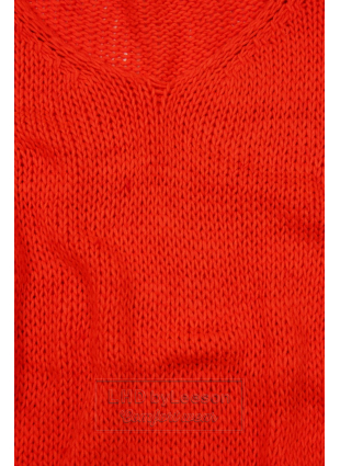 Neonowo-pomarańczowy sweter z dzianiny