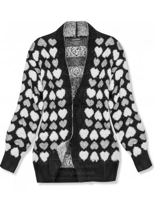 Czarny sweter z serduszkami
