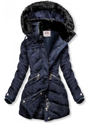 Granatowa kurtka zimowa z ciepłym pluszowym kołnierzem