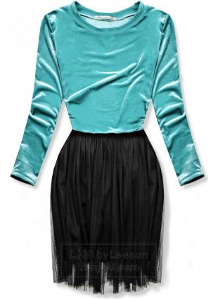 Turkusowa sukienka z tiulowym spodem