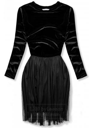 Czarna sukienka z tiulowym spodem