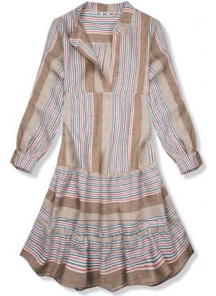 Brązowa lniana sukienka w paski