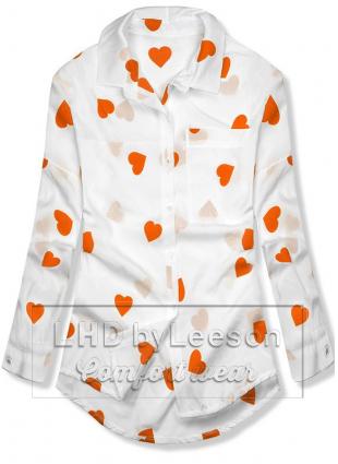 Koszula z motywem serduszek biało/pomarańczowa