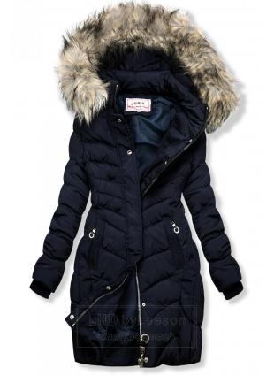Granatowa pikowana kurtka z futerkiem